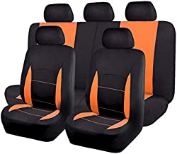 Flying Banner Car Seat Covers Full Set Front Seats and Rear Bench Polyester car seat Protectors Black Gray Purple airbag Compatible Rear Bench Split (Black Orange)