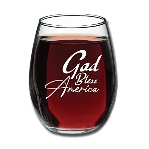 Bohohobo Libbey Weinglas ohne Stiel, Motiv: God Bless America, 350 ml, für Rot- und Weißweine geeignet, spülmaschinenfest, herzwärmender Geschenk für Familie, weiß