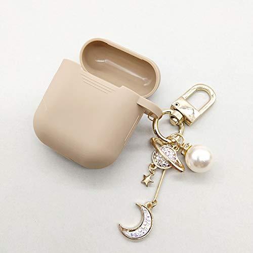 Hoesje Voor Apple Airpods Diamond Moon Siliconen Hoesje Accessoires Bluetooth Oortelefoon Hoofdtelefoon Bescherm Cover Parel Sleutelhanger QWERTB (Kleur : Khaki)