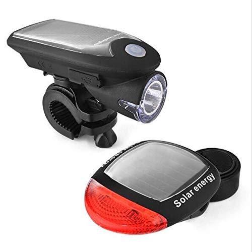 Ksydhwd Faro de Bicicleta Luces Solares para Bicicletas Luces Delanteras para Bicicletas De Montaña Luz De Carga USB Linterna Faros Delanteros Solares Luces Traseras