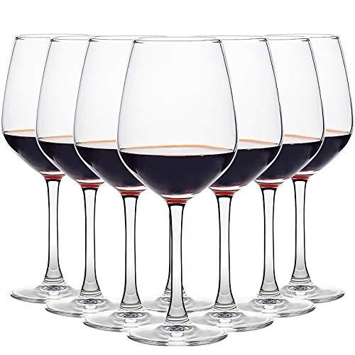 CREST Juego de 8 copas de vino, 450 ml, vaso de cristal, Uso en Casa, Restaurante y en Fiestas