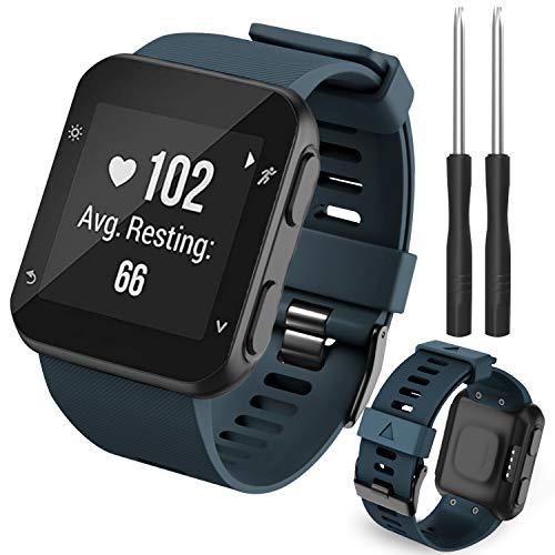 Th-some Cinturino per Garmin Forerunner 35,Bracciale Cinturino di Ricambio in Morbido Silicone compatibile con Forerunner 35 Smart Watch(Blu navy)