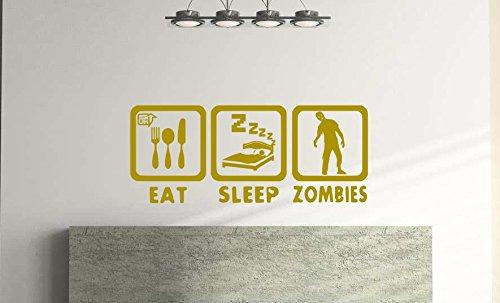Eat Sleep Zombies - Adhesivo decorativo para pared (57 x 24 cm), diseño de zombies