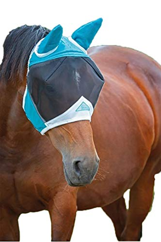 Shires Fine Mesh Fly Mask with Ears Teal X-Full
