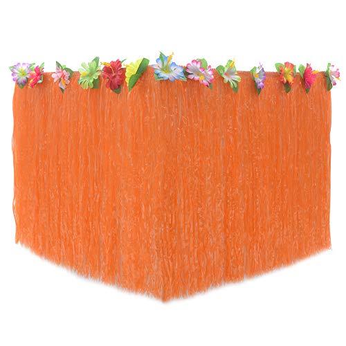 JUNGEN Falda de Mesa Hawaiana Luau Faldones de Mesa de plástico con Flores de Colores Grandes Falda de Mesa de Fiesta Decoracion para Playa Barbacoa Cumpleaños Festival (Naranja 1)