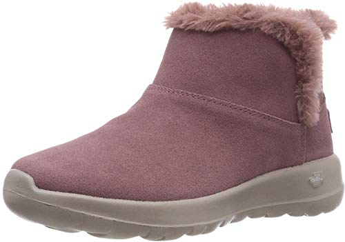 Dames Skechers On The Go Joy bundel suède winter namaakbont enkellaarsjes - Mauve - 5