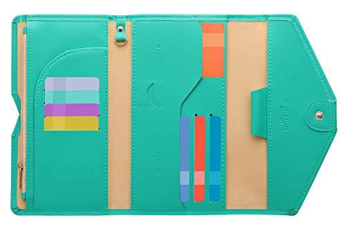 Zoppen Ver. 4 Reiseetui, RFID-blockierend, Ausweis, Reisepass, dreifach faltbar, Dokumenthalter, #4 Baby Green (Grün) - TG001