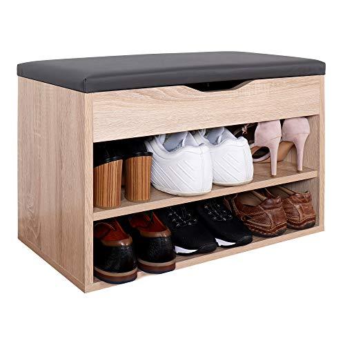 RICOO WM032-ES-A Banco Zapatero 60x42x30cm Armario Interior con Asiento Organizador Zapatos Mueble recibidor Perchero Madera Roble marrón