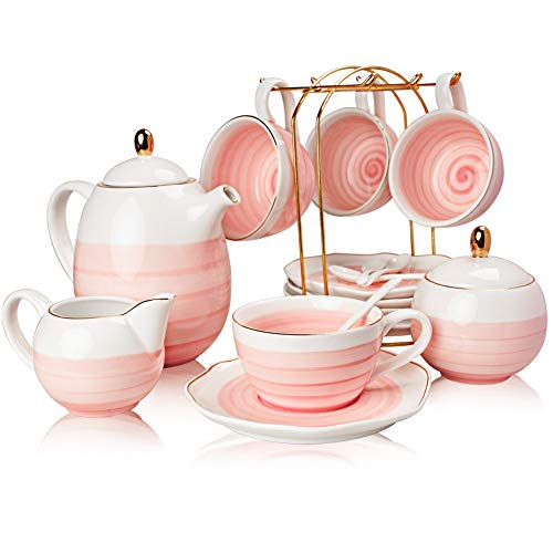 SWEEJAR Porcelain Tea Sets,8 oz Cups and Saucer Teaspoon Set of 4, with Teapot Sugar Bowl Cream Pitcher and tea strainer for Tea/Coffee,Afternoon Tea Party (Pink)