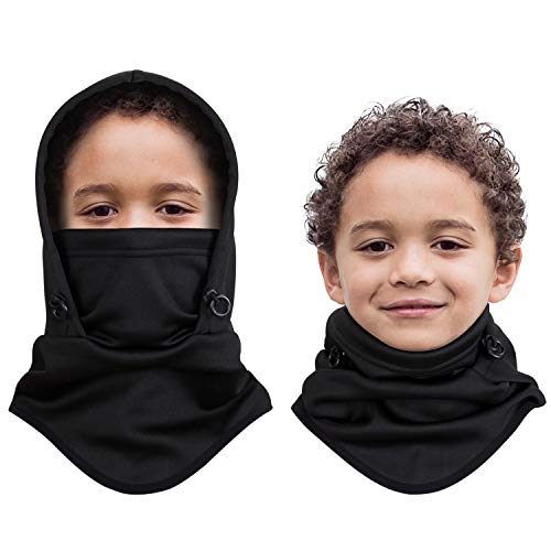 Aegend Kids Balaclava for Outdoor Sport Face Warmer, Thicker Fleece Hood Neck Warmer for Cold Weather, 1 Piece Black