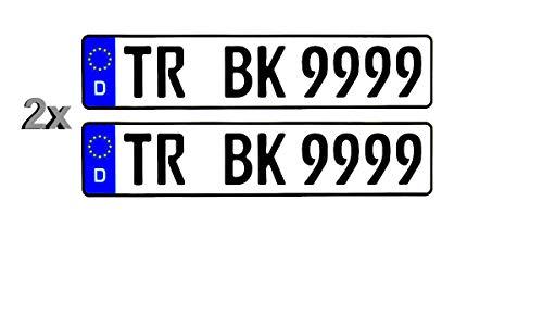 2 Stück Standard PKW EU Kennzeichen 520 x 110 mm 52 x 11 cm Nummernschilder Autoschilder // Wunschkennzeichen // Saison // H Historisch // E Elektro / / Beste Qualität doppelt Foliert