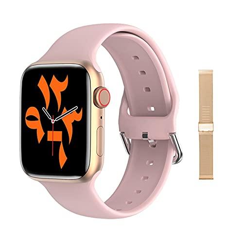 W66 Migliore Orologio Intelligente 2021 Bluetooth Call Smart Watch Uomo Donna Caricatore Personalizzato da 1,69 Pollici, Monsteramy. (Color : Pink Rose Metal)