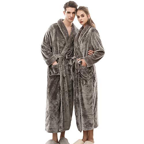 Quaan-Frau Kleider Women\'s Winter Lengthened Coralline Plush Shawl Bathrobe Long Sleeved Robe Coat
