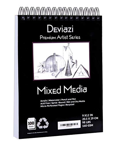 Deviazi Mixed Media Sketchbook 100-Sheets Acrylic Art Pad, Sketch Book, Watercolor | Drawing Pad, Acid-Free Paper for Drawing Paper, Painting, Sketching | Spiral Bound Sketchbook | Coloring Book