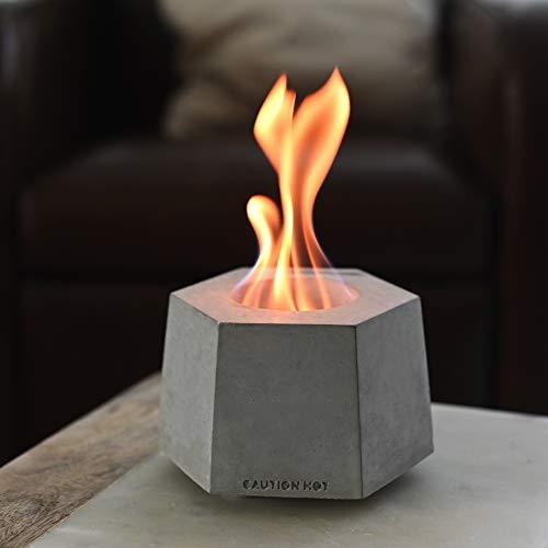 Colsen Tabletop Rubbing Alcohol Fireplace Indoor Outdoor Fire Pit Portable Fire Concrete Bowl Pot Fireplace (HEX Tesla)