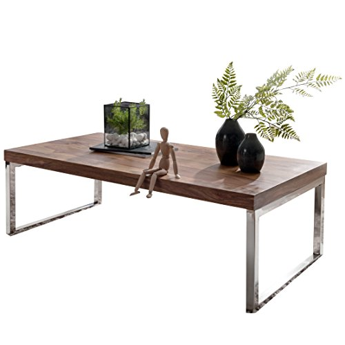 Wohnling Couchtisch GUNA Massiv-Holz Sheesham 120 cm breit Wohnzimmer-Tisch Design Landhaus-Stil Beistelltisch Natur-Produkt Wohnzimmermöbel Unikat modern Massivholzmöbel Echtholz rechteckig dunkel-braun