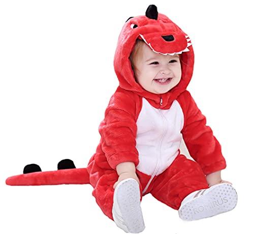 TONWHAR Unisex-Baby Costume Jumpsuit Pajama Cartoon Dog Dinosaur Outfit Toddler's Romper (Red Dinosaur, 18-24 Months/Height:32'-35')