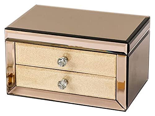 JIAH Caja de joyería de Cristal de Lujo de Maquillaje Exquisito con Espejo de Maquillaje de joyería Organizador de joyería Organizador de joyería Organizador, joyería de Oro de Champagne