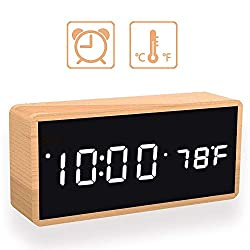 Upgraded Digital Alarm Clock, with Wooden Electronic LED Time, 3 Alarm Settings, Temperature Detect, Wood Made Electric Clocks for Bedroom, Bedside, Office, Mirror-Bamboo