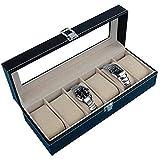 FGDSA Caja de Almacenamiento de Relojes Caja de Reloj de Cuero de simulación Caja de Reloj Cubierta de Vidrio Transparente 6 Compartimentos con Bloqueo de Moda