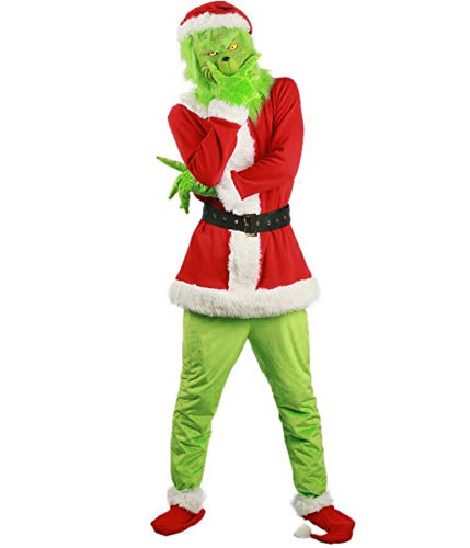 Hailouhai, costume da Babbo Natale per adulti, unisex, per feste, cosplay, Natale, adulti, Babbo Natale 7pcs Natale Grinch Santa Costume 3XL