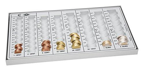 Wedo 160800037 Kompakt-Geld-Zählbrett (aus Polystyrol, mit Metallboden, 8 Münzrillen, rutschfesten Gummifüßen, 33,3 x 18,3 x 3,1 cm) lichtgrau
