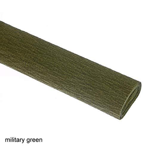 Envoltura de flores de bricolaje artesanal 250x50cm Guirnalda de papel crepé 21 colores Decoración de fiesta arrugada Origami decorativo, verde militar