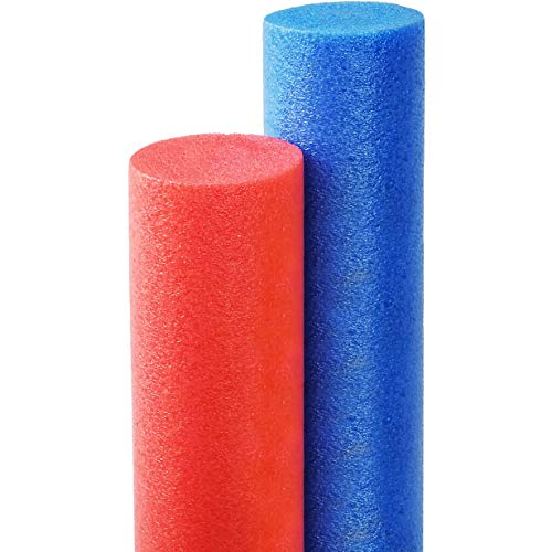 Floating Pool Noodles Foam Tube, Thick Noodles for Floating in The Swimming Pool, Assorted Colors, 52 Inches Long (Blue & Red)
