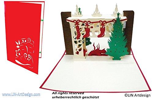 LIN17249, POP UP 3D Weihnachtskarten, Weihnacht Weihnachtskamin, N439