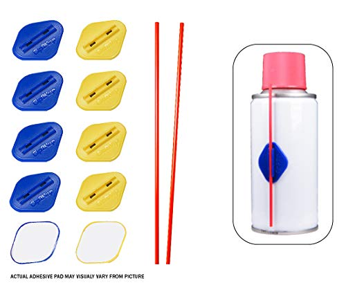 Clip2Keep Starter Kit - 10 Spray Can Straw Holders with 2 Extra Straws - Plastic Clip with Self-Adhesive Pad (5 Blue/5 Yellow) for Corrosion Inhibitor, Silicone Spray, Lock and Bike Chain Lubricant