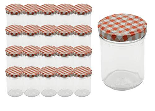20 Sturzgläser 125 ml Marmeladengläser Einmachgläser Einweckgläser To 66 Rot Karriert Deckel