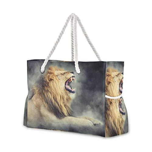 RELEESSS Große Reise Strandtasche Löwe Tier mit Reißverschluss Wasserdichte Tote Bag Schultertasche für Damen Mädchen Herren Unisex