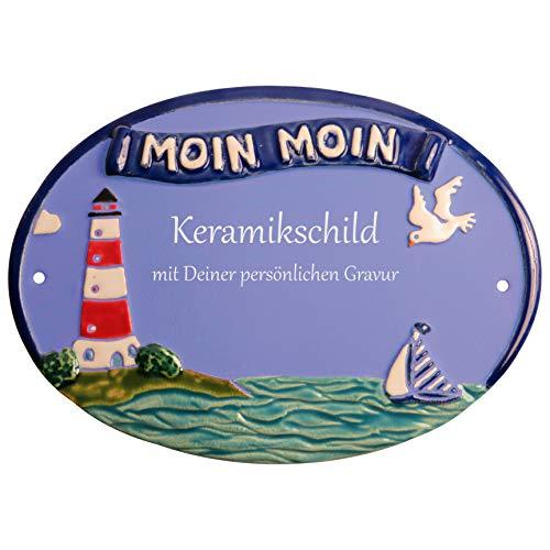 Handarbeit aus Schleswig-Holstein Keramikschild 23,5 x 17,0 cm Leuchtturm Moin Moin (hellblau)