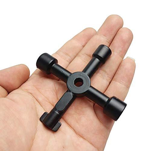IGOSAIT Multifunción 4 maneras universal Triángulo Medidor llave de fontanero Claves Triángulo for el gas de purga eléctrica Armarios Radiadores Reparar (Color : Black)