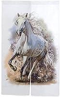 TINZZEROS のれん おしゃれ る馬 お部屋の 戸口の 暖簾カーテン 洋室でも 厚手 可愛ら リネンカーテン 縞模様 装飾 突っ張り棒付き 幅70㎝×丈120㎝