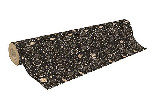 Clairefontaine 223841C Rolle Geschenkpapier (50 x 0,70m, 70g/qm Recycling Kraftpapier, ideal für große Geschenke) 1 Stück kakaobohnen
