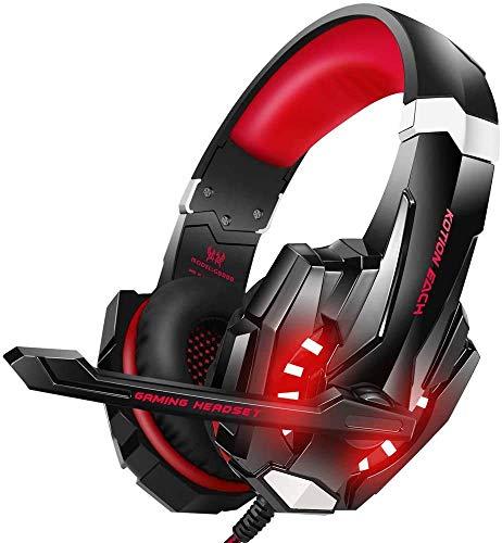 Cuffie da gaming PS4, cuffie da gioco stereo, luce stereo Bass anti-rumore, LED con jack da 3,5 mm, compatibile con PS4 PS5 Xbox One PC Mac (G9000-Red)