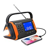 Emergency NOAA Weather Crank Solar Powered Portable Radio with 4000mAh Battery Power for Cell Phone, Bright Flashlight for Household Emergency and Outdoor Survival (097-Orange)