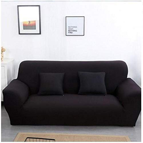 Allenger Sofa Throws,Einfarbige Stretch-Sofabezug, Vier Jahreszeiten universelle rutschfeste Sofabezug, einfarbige Möbel staubdichte Sofakissenbezug-schwarz_90-140cm