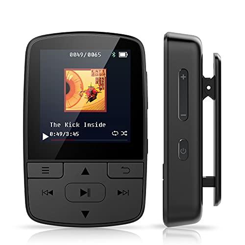 Reproductor MP3 Bluetooth Clip 8 GB Reproductor Música Portátil, Radio FM, Grabación de Voz, Audiolibros, Podómetro para Correr, Caminar, Motocicleta, Soporta hasta 128 GB