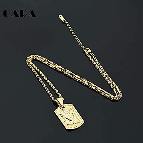 NC190 Gold Color Christian Jesus Pendant Necklace with 24 Inch Snake Chain Necklace for Men and Women