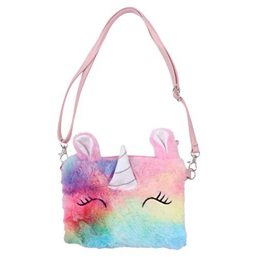 VALICLUD - Bolso pequeño con diseño de dibujos animados de peluche y unicornio, color morado, color Multicolor, talla 18 x 13 x 1 cm