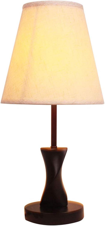 WPCBAA Einfache Moderne Holztisch Lampe E27 Lampenkopf mit Knopfschalter Dekoration Wohnzimmer Studie Nachttischlampe (Größe   L)