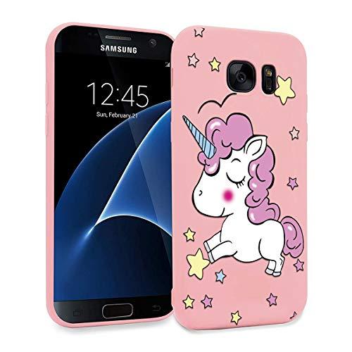 ZhuoFan Funda Samsung Galaxy S7 Edge, Cárcasa Silicona Rosa con Dibujos Diseño Suave Gel TPU Antigolpes de Protector Piel Case Cover Bumper Fundas para Movil Samsung Galaxy S7Edge, Unicornio 01