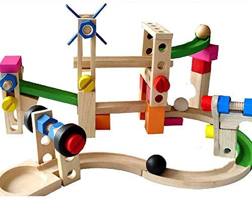 OOPP Kinderholzpuzzle Achterbahn, Kugelbahn Bauklotz Auto, Eltern-Kind-interaktives Spielzeug, Kindergeburtstagsgeschenk