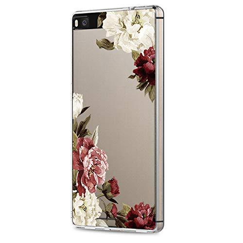 18eay Hülle Kompatibel mit Huawei P8 Lite 2015 Case Slim Weiche Silikon Transparente TPU Handyhülle Geometrie Blume Protective Schutzhülle für Huawei P8 Lite 2015
