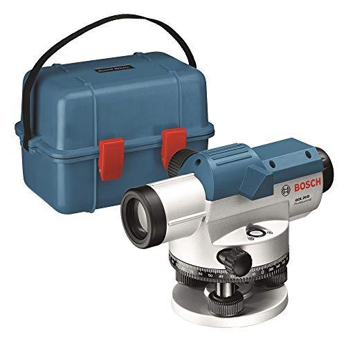 Bosch Professional Optisches Nivelliergerät GOL 20 D (20-fache Vergrößerung, Maßeinheit: 360 Grad, Arbeitsbereich: bis zu 60 m, im Transportkoffer)