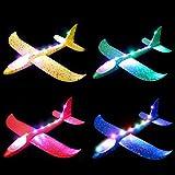MIMIDOU 4 Pack Flashing Glider Plane, Illuminated Colored led Lights can Play at Night, Foam...