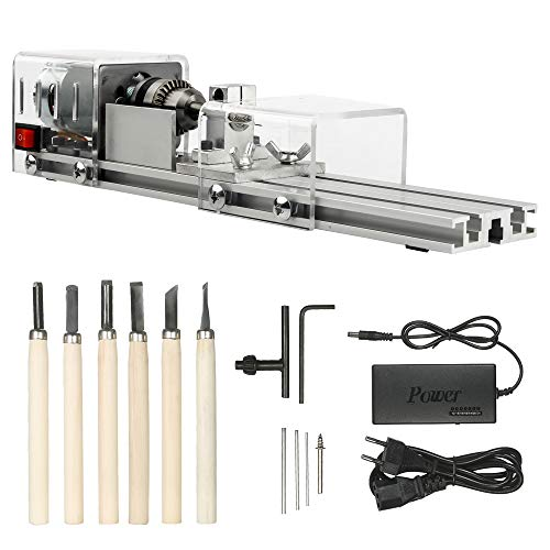 OPHIR DIY 100W 24V Mini Wood Lathe Milling Machine Tool Grinding Polishing Beads Wood Working
