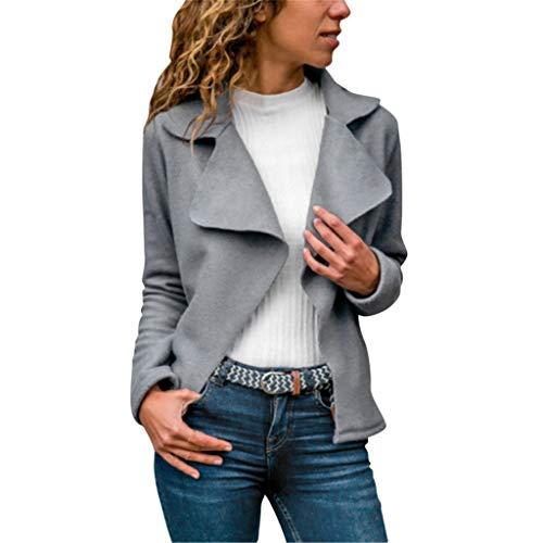 Zarupeng Dames Elegant gebreide jas van faux suède effen dunne blazer outwear lange mouwen revers jas vrijetijdsjas